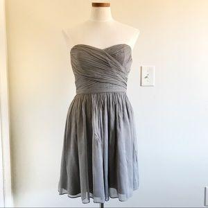 J. Crew gray Arabelle Silk Chiffon dress